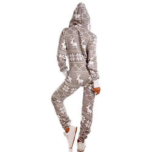 Crazy Age Kuscheliger Jumpsuit Sweat Overall Ganzkörperanzug mit Renntier- Eiskristalle Motive CA-J-603 Relaxen Chillen (Hellgrau, 4XL) - 3