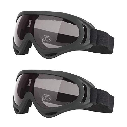 gotyou 2 Piezas Gafas al Aire Libre,UV400 Gafas de Protección UV,Gafas de Esquí/Gafas de Moto/Gafas a Prueba de Polvo/Gafas a Prueba de Viento,Gafas Tácticas(Negro)