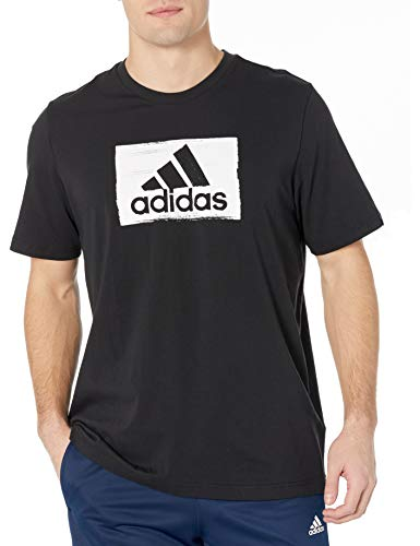 adidas mens Brushstroke Tee Black Medium