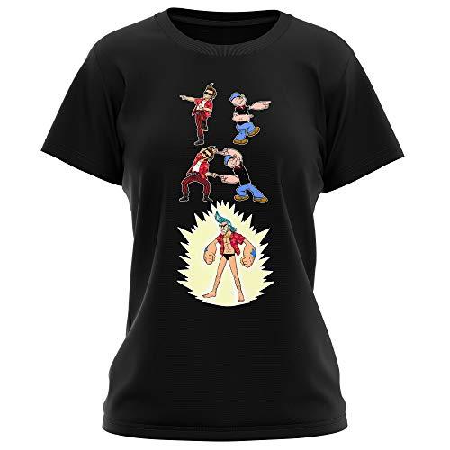 T-Shirt Femme Noir One Piece - Popeye parodique Franky, Ace Ventura et Popeye : Fusion YAHAAAAA !!! (Super Splendide :) (Parodie One Piece - Popeye)