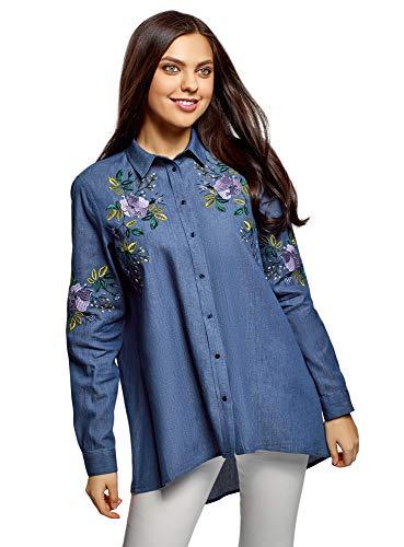 oodji Ultra Mujer Camisa Vaquera con Bordado, Azul, ES 34 / XXS