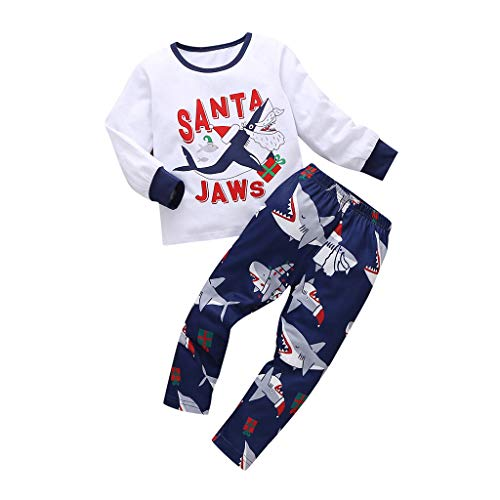 Fossen Kids - Pijamas Casero de Recién Nacido Bebé Navidad, Carta Impresión Tops + Pantalones de Tiburón