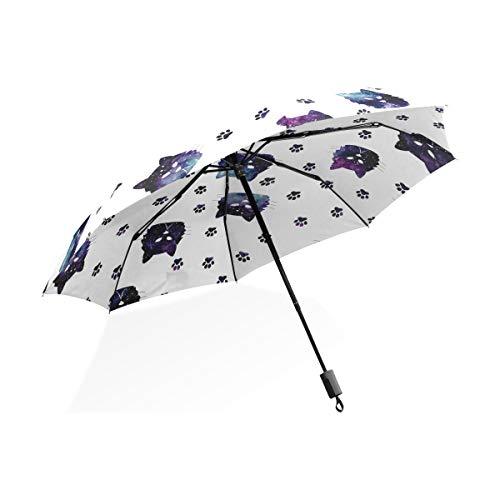 Regenschirm Paw Seamless Pattern Katzen Footprint 3 Falten Lightweight Anti-UV