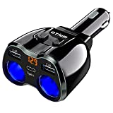 USB C Car Charger, 2 Sockets Cigarette Lighter Splitter 12/24V 80W Dual USB Type-C Ports Separate Switch LED Voltage Display Built-in Replaceable 10A Fuse Compatible Mobile Cell Phone GPS Dash Cam