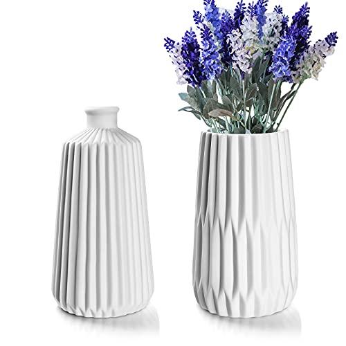 Deko Vasen 2er Set, Blumenvase Tischvase mit Nordischem Stil, Weiße Vasen Keramik Set für Dekoration und Geschenk (2 Stück)