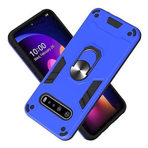 FAWUMAN Armure Coque LG V60 ThinQ 5G, Boîtier PC + TPU Double Layer Housse résistant aux Chocs avec Support à Anneau Rotatif à 360 degrés (Bleu foncé)