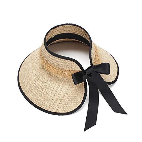 SSHZJUS Ocio Sombrero for el Sol Lafite Playa de ala Ancha Refrescante y Transpirable Visera Plegable Roll Top Hat Verano Ciclismo (Color : Light Khaki, Size : 57-60CM)