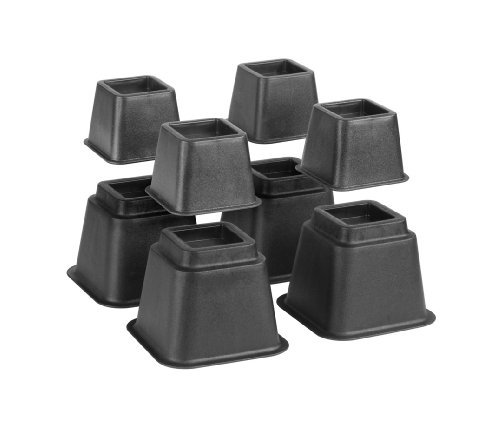 """Simplify Bed Risers/Bed Lifters Wheel - Bedding Accessories for All Types of Furniture - Black - Pack of 8-3"""", 5"""" or 8"""""""