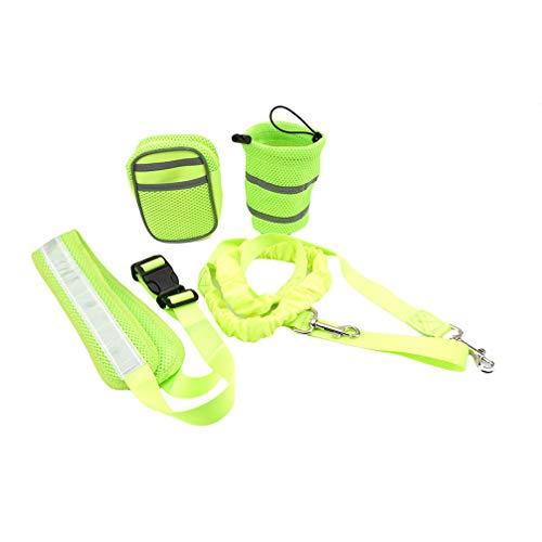 Toporchid Running Pet Sports Suit Reflektierendes Traktionsseil-Set Running Traction Belt-Aufbewahrungstasche (grün)