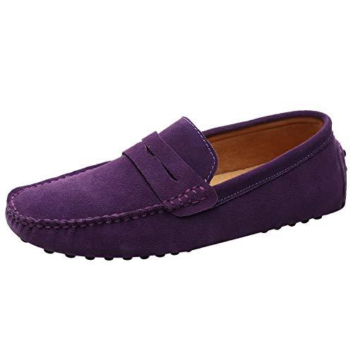 Jamron Uomo Pelle Scamosciata Penny Mocassini Comfort Scarpe da Guida Pantofole Viola S2088 EU42