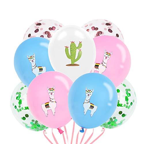 WERNNSAI Lama Party Dekorationen - Alpaka Kaktus Konfetti Latex Party Luftballons für Kinder Geburtstag Babydusche Partyzubehör, 40PCS