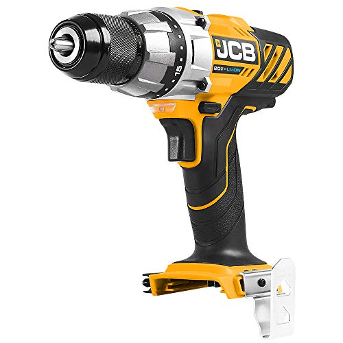 JCB Tools - JCB 20V Cordless Drill Driver Power Tool - No Battery - Variable Speed - Forward And Reverse Rotation - For Home Improvement, Drilling, Screw Driving, Drill or Hex Bits - Bare Unit