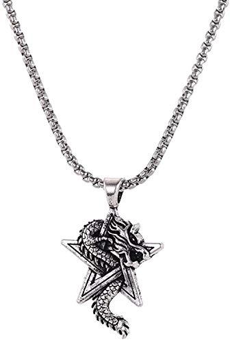 Liuqingzhou Co.,ltd Collar de aleación para Hombre Collar de Estrella de David Amuleto Sobrenatural Colgante de dragón Collares Regalo para Novio