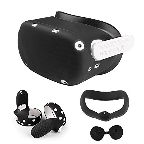 Cubierta de Silicona VR para Oculus Quest 2 Cubierta Protectora de Agarre del Controlador, Cubierta de Carcasa, Cubierta Facial y Cubierta de Lente, Antideslizante, a Prueba de Sudor ⭐
