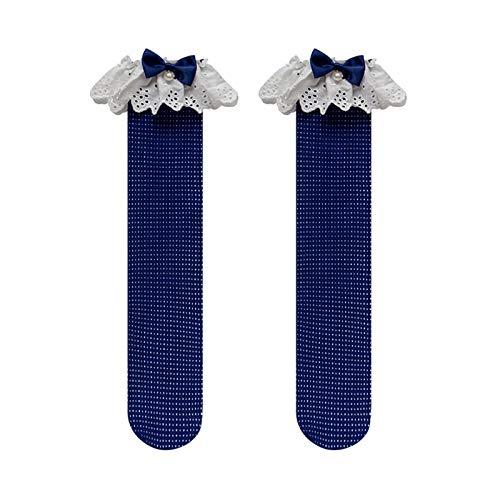 YUNGYE Arco de Cuentas de Encaje Lolita Medias Bordado de Encaje de algodón Tubo Calcetines Calcetines sobre la Rodilla (Color : Blue, Size : One Size)