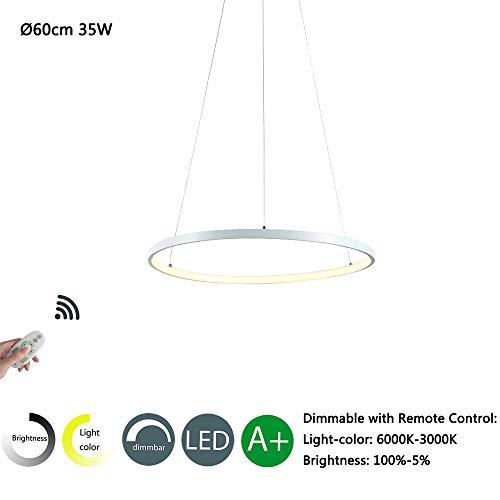 Modern LED Pendelleuchte Rund Design Hängeleuchte Wohnzimmer Lampe Esszimmer Kronleuchter Schlafzimmer Leuchte Küche Esstisch Hängelampe Büro Beleuchtung Deko (Weiß, 60cm Dimmbar)