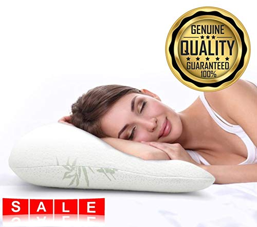 Awesome Price | Premium Luxury Bamboo Shredded Memory Foam Pillow for a Great Nights Sleep | Cool Flow Technology Provides Deep Comfort to give You The Best Rest