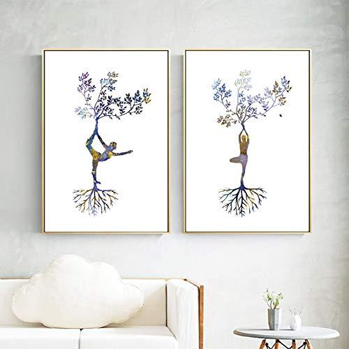 Impresión de yoga Mujer Yoga Asanas Arte de la pared Carteles e impresiones Árbol de yoga tríptico Imagen de arte abstracto Pintura en lienzo Decoración para el hogar-40x50cmx2 Sin marco
