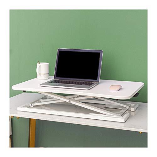 YJFENG Sit Stand Tischplatte, Höhenverstellbar Stehpult Konverter, Computertisch Mit Gasfeder Aufstehen, Für Zuhause, Büro, Höhe 150-185cm Personal (Color : White, Size : 73x47x6-40cm)