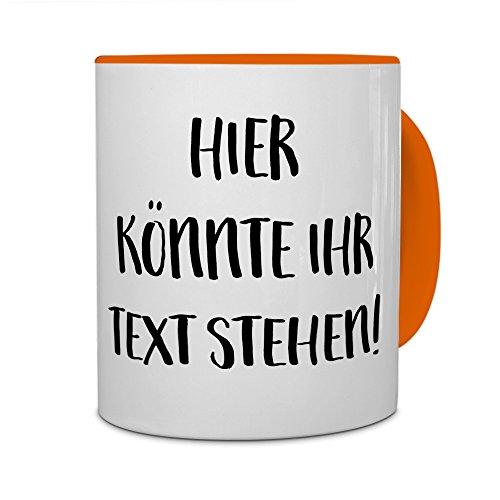 PrintPlanet® - Tasse mit eigenem Text bedrucken lassen - Kaffeebecher mit Wunschtext oder Spruch personalisieren - Becher Orange