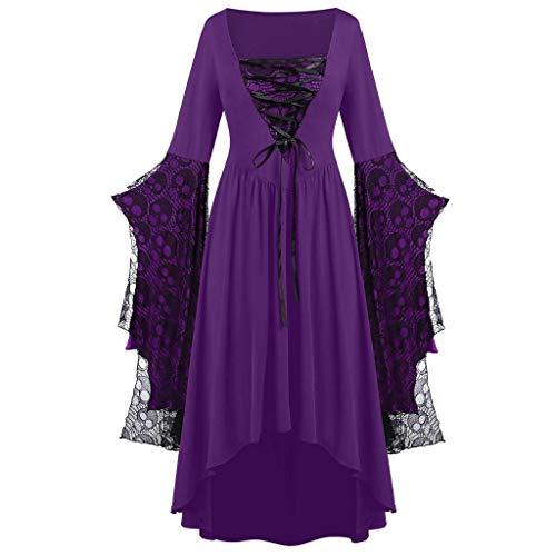 Womne lace Strap Dress Plus Size Plus Size Skull Lace Bell Sleeve Fashion Dress Purple