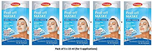 Schaebens Peel-off Gesichtsmaske - mit Heilwasser, Perlenextrakt und Früchten - (5 Einheiten mit je 15 mL - Für 5 Anwendungen) - Für alle Hauttypen