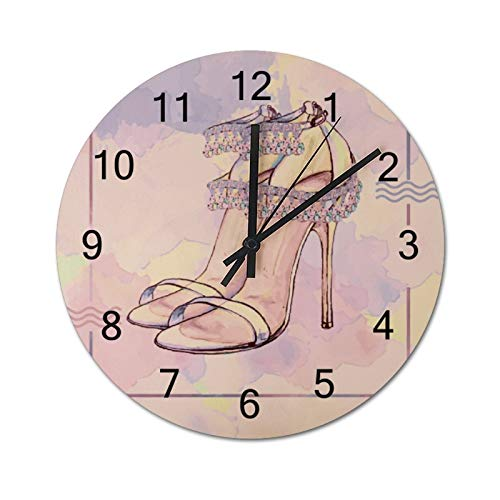 Free Brand Clocks 30,5 cm Clip-Art Zeichnung Lady High Heel Schuh Holz Wanduhr nicht tickend hängende Uhr rund für Geschenk Home Office Kinderzimmer Wohnzimmer Schlafzimmer