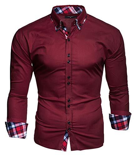 Kayhan Hombre Camisa, Musterärmel Bordeaux(L)