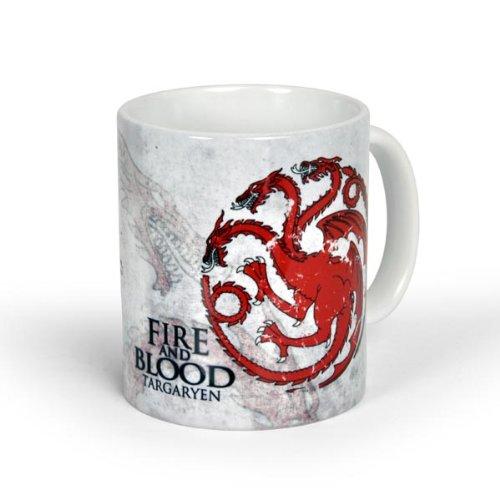 Elbenwald Game of Thrones Tasse Haus Targaryen Rundumdruck mit Leitspruch und Drache Kramik 300 ml weiß