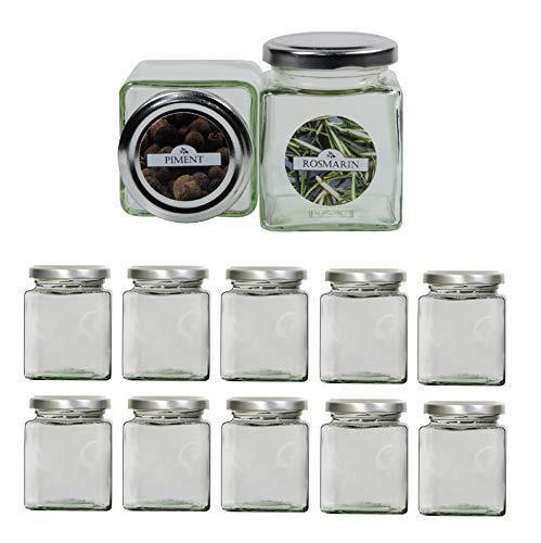 mikken mikken-12 eckig 212 ml inkl. 24 Gewürzetiketten Gewürzgläser, Glas, 12-Einheiten