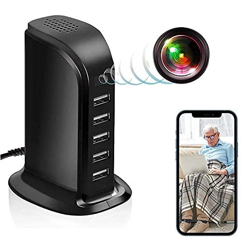 GEQWE Cámara con Cargador WiFi USB, Cámara Inalámbrica HD De 5 Puertos 1080P Adaptador De Carga De Escritorio Nanny CAM Mini Grabadora De Video Cámaras De Seguridad, para El Hogar Y La Oficina