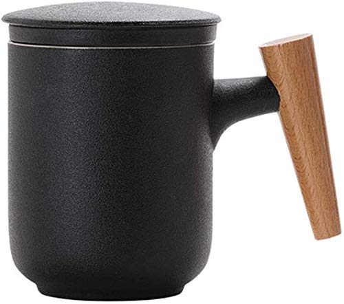 Taza de té con tapa y filtro de agua de cerámica, taza de separación de té con filtro de cerámica