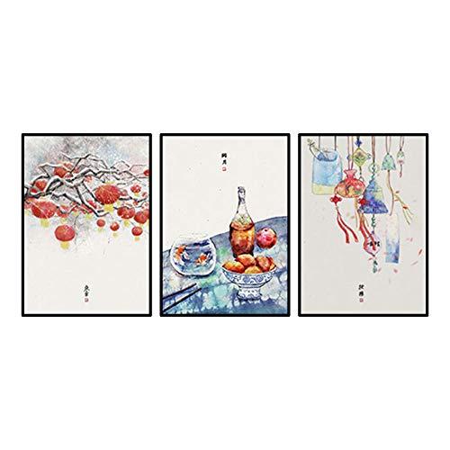 Estilo japonés Linterna Vino Fruta Sachet Paisaje Poster Dibujos Animados Acuarela Paisaje...