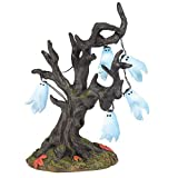Department 56 6005571 Village Collection Accessories Halloween Ghost Tree Lit Figurine, 6.75 Inch, Multicolor
