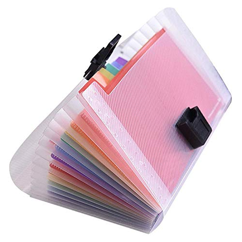 BEAGHTY 13 Pockets Accordian File Organiser, 178 * 118 * 25mm, A4 Plastic Wallet For Cards,Coupons,Receipt,Tax Item, Mini Ticket Expanding Folders, Expandable Portable Folder