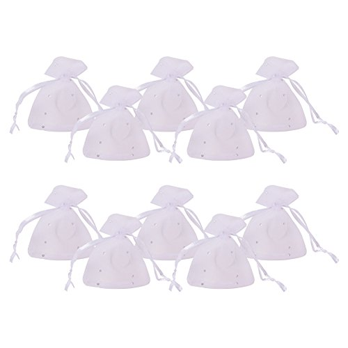 PandaHall 100pcs Bolsas de Organza con Lentejuelas y Cintas 9x7cm para Joyas Caramelo Dulces Regalo Recuerdo Favores Detalles de Boda Navidad Halloween(Blanco)