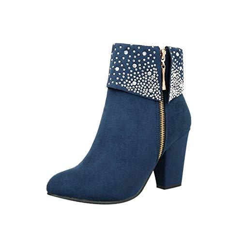 Logobeing Zapatos Mujer Tacones Botines Mujer Tacon Medio Planos Invierno Alto Botas de Mujer Casual Plataforma Nieve Ante Botas de Cordones Calientes Altas Boots(37,Azul)