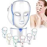 Mascarilla LED Máscara de terapia de luz de 7 colores Colágeno, antienvejecimiento, ajuste, cicatrización, belleza blanqueadora Mascarilla LED con instrumento de máscara de cuello