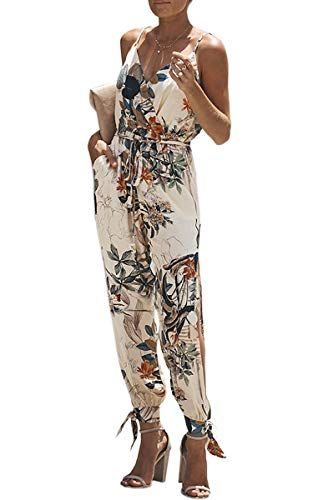 ECOWISH Damen Jumpsuit V Ausschnitt Overall Blumen Ärmellos Playsuit Split Hosenanzug Romper Frühling Sommer Weiß L