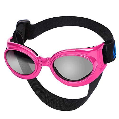 Segarty Dog Sunglasses Pink, Pet Glasses, UV Dog Sunglasses with Strap Adjustable for Car Rides...