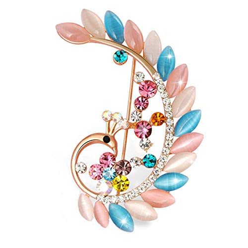 Peacock Animal Brooch Charm Colorful Crystal Breastpin Fashion Elegant Rhinestones Cat's Eye Brooches Pin Art Nouveau Gorgeous Peacock Breastpin Gold Tone for Women Girl Wedding/Banquet/Bouquet