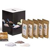 Salz Set Geschenkset I Fleur de Sel, Murray River, Rosensalz, Rauchsalz, Kala Namak I Hochwertige Geschenke Feinschmecker Probierset -