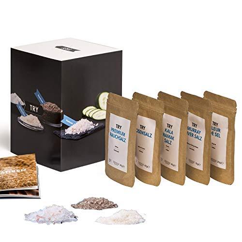 Salz Set Geschenkset I Fleur de Sel, Murray River, Rosensalz, Rauchsalz, Kala Namak I Hochwertige Geschenke Feinschmecker Probierset