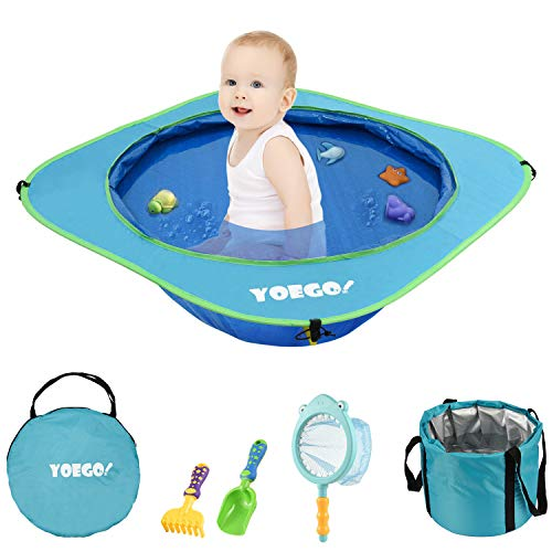 Yoego Kiddie Pool, Portable Baby Beach Swimming Pool, Toddler Pool with Baby Sand Toys Including Fish Net and Toy Fishes, Sand Shovel and Rake, Perfect for Babies Toddlers On The Beach and Indoors