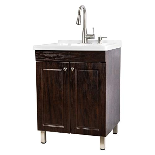 Utility Sink Laundry Tub With Cabinet In Brown, High Arc Stainless Steel Faucet, Storage Vanity With Slow Closing Doors, Large Washtub for Cleaning and Washing, Sinks for Garage, Basement, Work Room