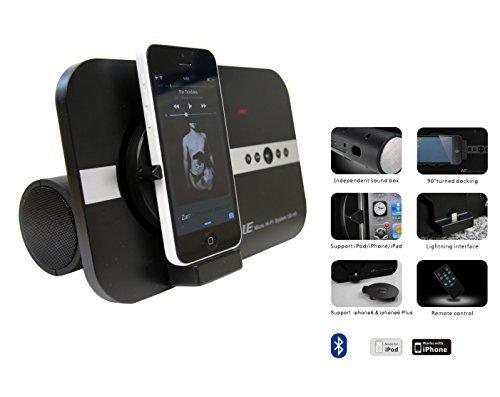 STElectronic ST-A5: 10 Watt Sound System für Apple iPhone X Xs Xr iPhone SE 5 5S 6 6S iPhone 7 8 Plus ipod Touch iPad Pro Mini Air Bluetooth 2 Lautsprecher Fernbedienung Soundsystem schwarz