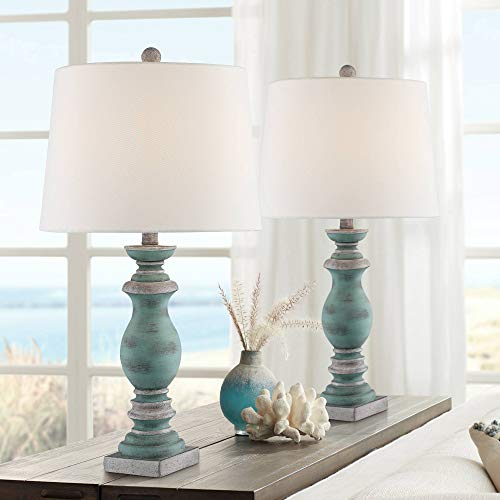 Patsy Country Cottage Traditional Style Table Lamps Set of 2 Blue Gray Washed Tapered Fabric Drum Shade Decor for Living Room Bedroom House Bedside Nightstand Home Office Family - Regency Hill