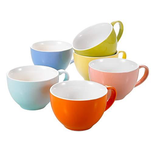Panbado Juego de Tazas de Porcelana de 6 Piezas Tazas de Cerámica de 6 Colores Tazas de Café/Té para Desayuno, Fiesta, Oficina, 375 ml (14,5 * 11,3 * 7,5 cm), Regalo para Cumpleaños, Festival