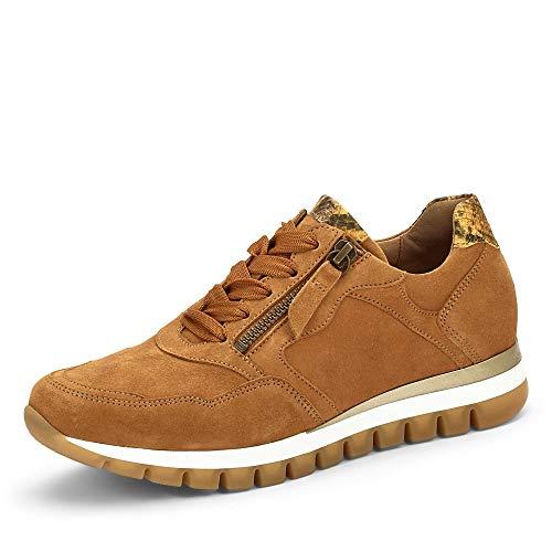 Gabor Damen Sneaker, Frauen Low-Top Sneaker,Comfort-Mehrweite,Reißverschluss,Optifit- Wechselfußbett, feminin elegant Women's,Curry,39 EU / 6 UK