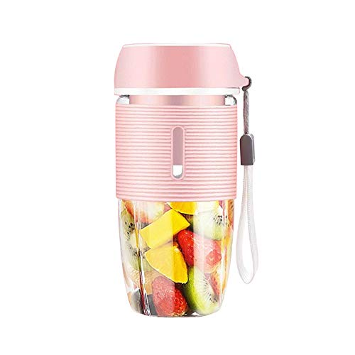 MANMEI-Portable Blender Cup,35-50W for Fruit Juice, Milk Shakes, 400ml Baby Juice Cup with Two 3D Blades for Great Mixing USB Charger Cable?Great for Home Office Sports Travel Outdoors? (Pink)